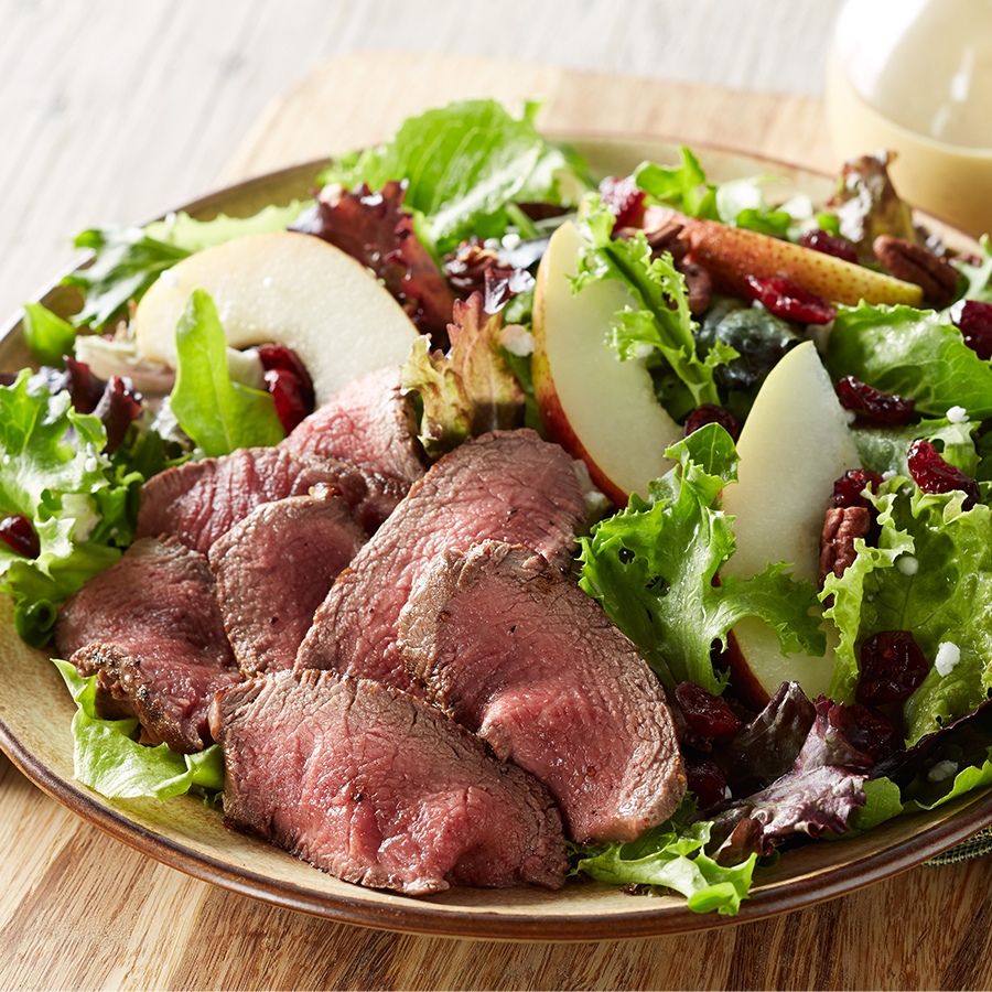 tenderloin-cranberry-and-pear-salad-with-honey-mustard-dressing